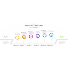 Infographic 6 timeline diagram project planner vector