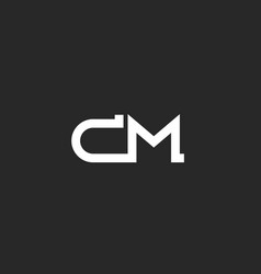 initial cm logo monogram letters together two vector image