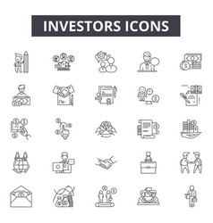 Investors line icons signs set outline vector