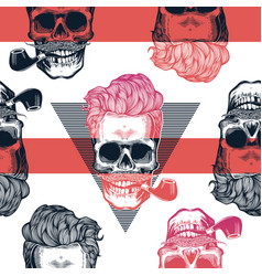 Kitschy seamless pattern human skulls with vector