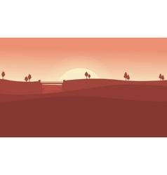 Landscape of bridge on desert collection vector