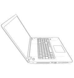 laptop line view notebook created vector image