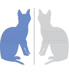 layout of the notepad in the shape of a cat vector image