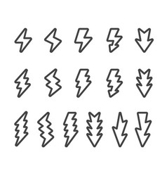 lightning line icon set vector image