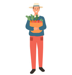 Man farmer with vegetables basket isolated vector