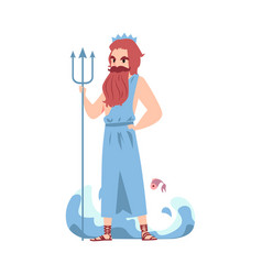 Man or poseidon greek god stands holding trident vector