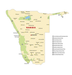 Map national parks namibia vector