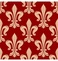 Maroon and beige floral seamless pattern vector image