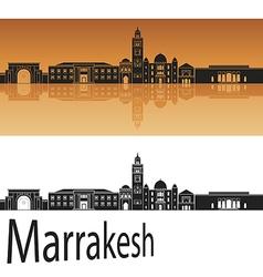 Marrakesh skyline in orange vector image