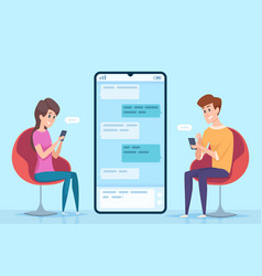 Messaging people couple male and female vector