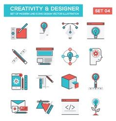 modern flat line icon concept creativity vector image