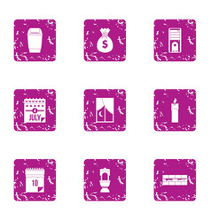 Money mend icons set grunge style vector