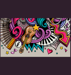 Music hand drawn doodle banner cartoon detailed vector