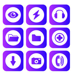 neon synthwave retro 80s style multimedia icons vector image