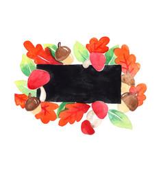 oak leaves red mushroom and acorn frame vector image