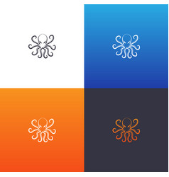 octopus silhouette set vector image