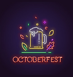 oktoberfest and glass of beer neon sign vector image
