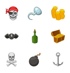 pirate symbolism icons set cartoon style vector image
