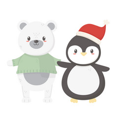 polar bear with sweater and penguin with hat vector image