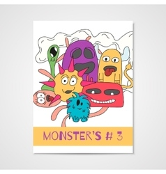 Poster with doodle monsters vector image