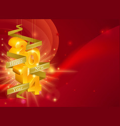red happy new year 2014 background vector image