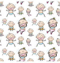 Seamless background with babies vector