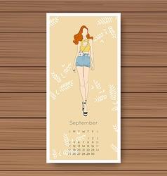 September Hand drawn fashion models calendar 2016 vector image