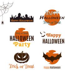 Set of halloween typographic banners vector