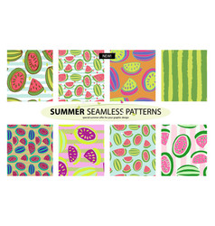 Set watermelon patterns 8 patterns summer vector
