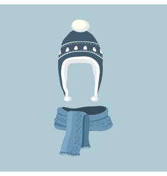 Striped Scarf Isolated Winter Hat vector image