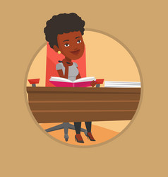 Student writing at the desk vector