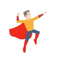 Superhero in midair vector