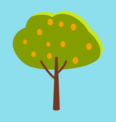 Tall tree with green leaves and orange fruits vector