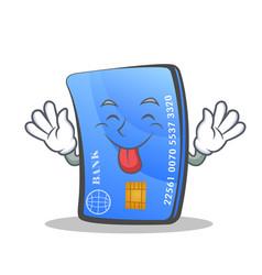 Tongue out credit card character cartoon vector
