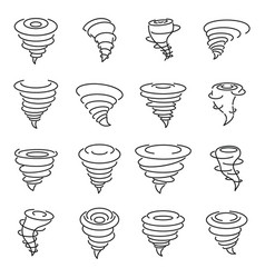 Tornado air icons set outline style vector