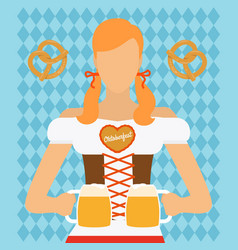 traditional oktoberfest woman icon vector image