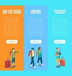Travelling people vertical flyers set vector