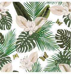 tropical seamless composition white background vector image