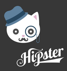 typography hipster and cat cartoon vector image
