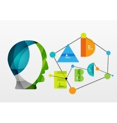 User head with geometric infographic A B C D and vector
