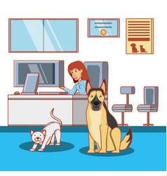 Veterinary in attention office vector