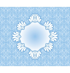 Vintage blue frame on damask background vector image