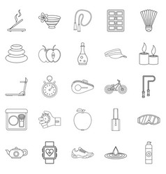 Well-being icons set outline style vector