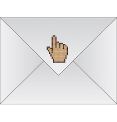 White envelope with cursor hand vector