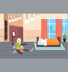 woman sitting on floor with her little bamother vector image