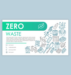 Zero waste web banner business card template vector