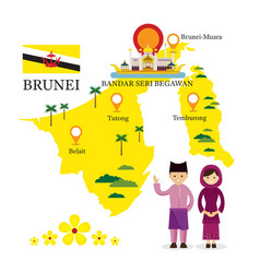 brunei map and landmarks with people in vector image vector image