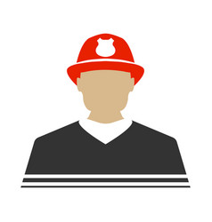 firefighter flat icon protect and serve label vector image