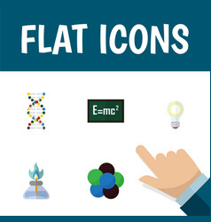 Flat icon study set of genome proton theory of vector