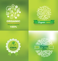 organic and natural emblem and logo design vector image vector image